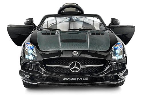 Carbon Black SLS AMG Mercedes-Benz Car For Kids, 12V Powered Kids Ride On Car