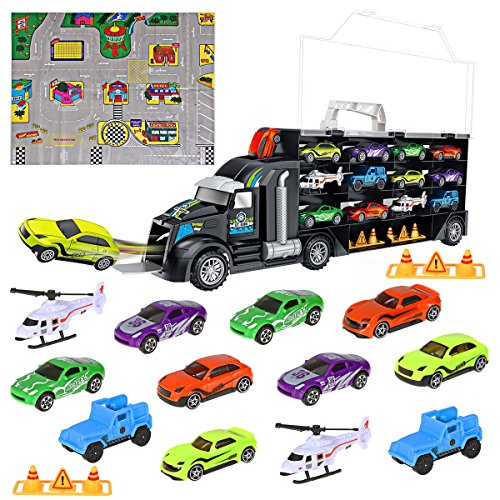 iBaseToy Toy Cars, Transport Car Carrier Truck
