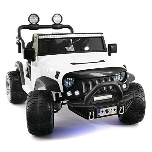 Explorer 2 (Two) Seater 12V Power Kids Ride-On Car Truck with R/C Parental Remote + EVA Rubber LED Wheels + Leather Seat + MP3 Music Player Bluetooth FM Radio + LED Lights
