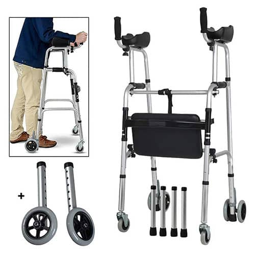 FKDEWALKER Aluminum Foldable Walking Frame,