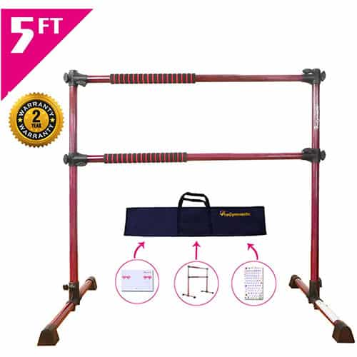 PreGymnastic 5 Ft Adjustable & Portable Double Freestanding Ballet Barre
