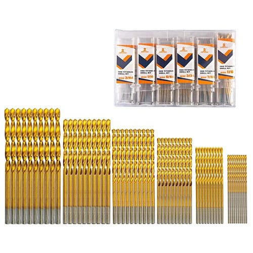 INTOO Mini Drill Bit Set 60 Pcs+12 Pcs Free High-Speed Steel HSS Titanium Micro Drill Bits