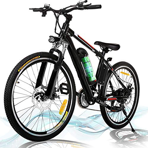 Kemanner 26-inch Electric Mountain Bike 21 Speed 36V 8A Lithium Battery Electric Bicycle for Adult (Black)