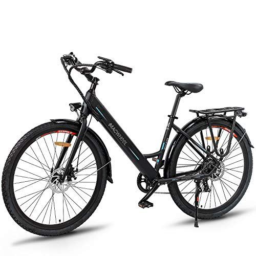 Macwheel 26'' Electric Bike, 350W E-bike, 15.5MPH Adults E-bike with Removable 36V/10Ah Lithium-ion Battery, Shimano 7-Speed, City Electric Bicycle Black