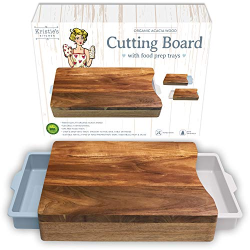 Cutting Board with Containers - Organic Acacia Wood Cutting Boards for Kitchen