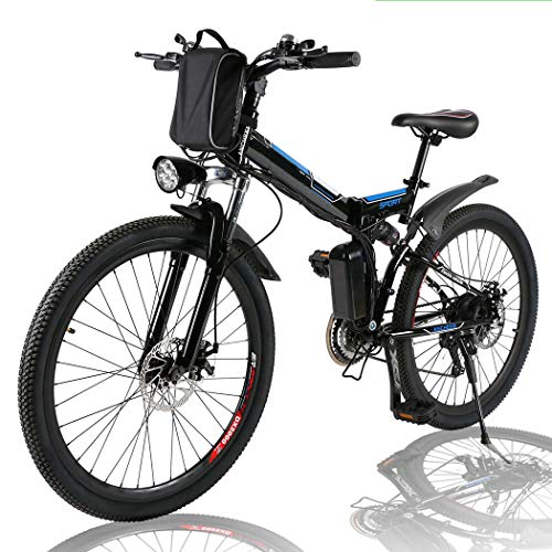Angotrade 26-inch Electric Bike Folding Mountain E-Bike 21 Speed 36V 8A Lithium Battery Electric Bicycle for Adult